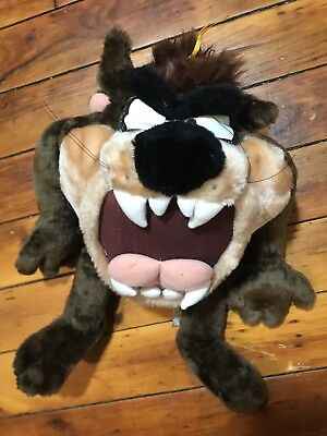 "1997 Rare Warner Bros TASMANIAN DEVIL Plush BIG 17"" TAZ Looney Tunes"
