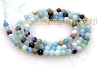 """SALE small 4mm Round mix color Amazomite loose gemstone beads strand 15""""-los242"""