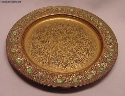 Rare Antique Tiffany Favrile Footed Bronze Tray With Enamelling