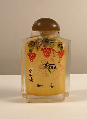 Snuff Bottle Glass CHINA Reverse Painted CRICKET & MANTIS