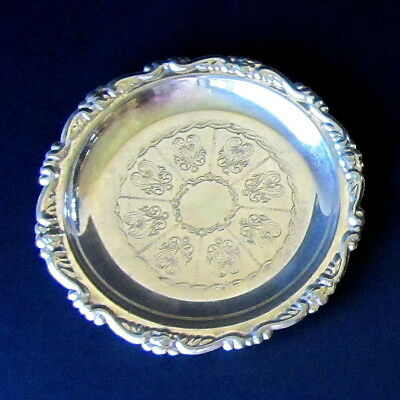 Small Antique Silver Plate Snack Cup Tray Plate - Ornate Inset Pattern