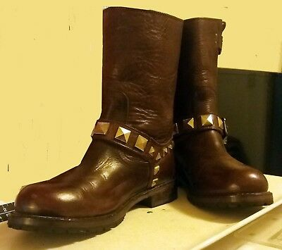 Women's Vintage Frye Brown Motorcycle Boots, Studded,