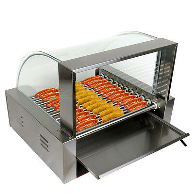 Commercial 30 Hot Dog Machine 11 Roller Hotdog Grill Cooker 2200W Xmas Sale