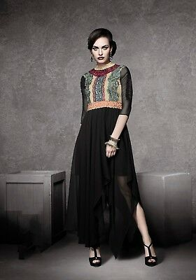 Indian Georgette-Jacquard Party Wear Round Neck Black Color Long Length Kurti