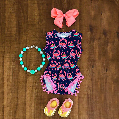 AU Stock Newborn Infant Baby Kid Girl Floral Crab Romper Blouse Swimsuit Clothes