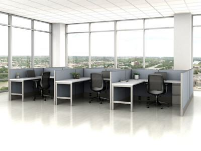 "Divi Fast Track Modern Cubicles Cluster of 6 Workstations - 42"" Panel"