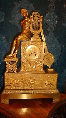 An Original Large French Empire Gilt Bronze Figural Clock