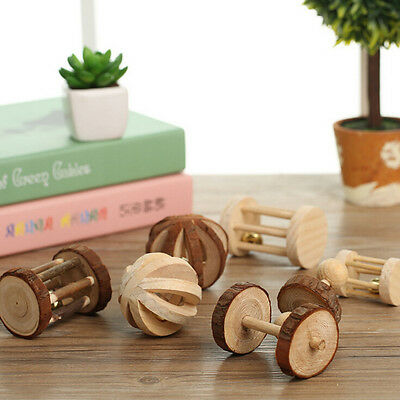 Natural Pine Dumbells Unicycle Bell Roller Chew Toy For Guinea Pig Rat Rabbit+