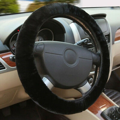 Winter Heat Warm Furry Fluffy Soft Plush Steering Wheel Wrap Cover Car Accessory