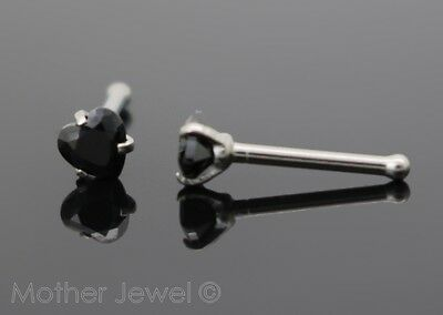 Love Heart 3Mm Jet Black Cz 20G Surgical Steel Womens Nose Stud Bone Pin