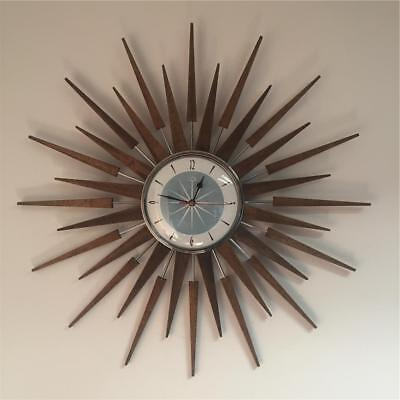 Royale Large Mid Century Seth Thomas Style Starburst Clock Hand Made in the UK
