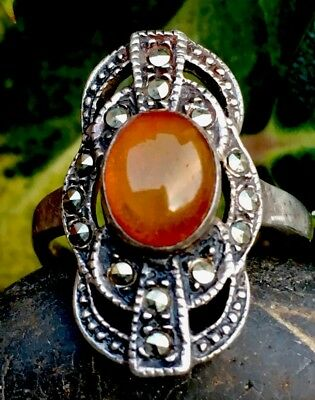 Beautiful Antique Amber & Solid Silver Hallmarked Ring FreeUKP&P