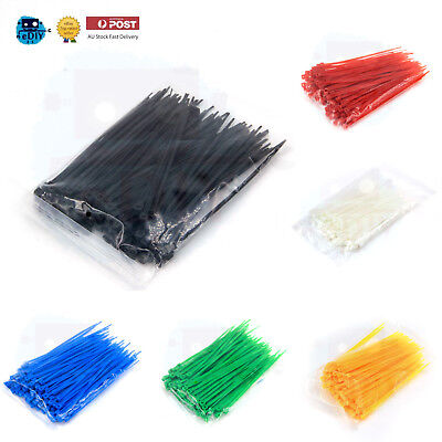 100 Pcs Black Red Green Blue Yellow White Nylon Cable Tie 3 x 100 mm