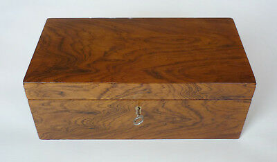 Vintage Rosewood Box with Mahogany Tray and Working Lock