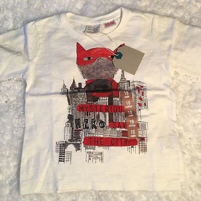 Zara Baby Boy Shirt 12 18 Months Toddler White Long Sleeve Mysterious Fox Cotto