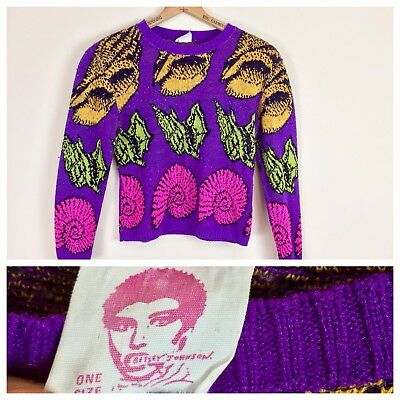 Vintage 80s Betsey Johnson Punk Label Sweater Cropped Purple Seashells