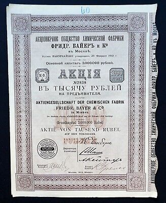 Russia - AG der chemischen Fabrik Friedr. Bayer & Co./ 1000 rubles - VERY RARE-