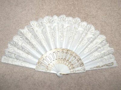 White Fabric & Plastic Hand Fan