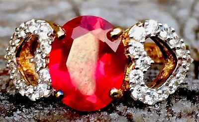 Beautiful Vintage Ruby Red Stone Set & Solid Silver Hallmarked Ring FreeUKP&P