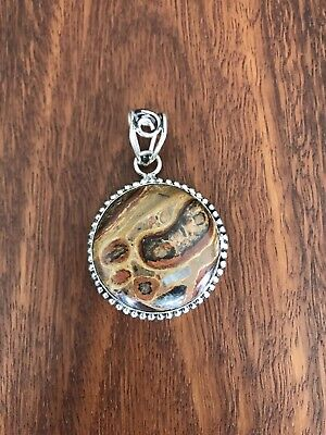 Sterling Silver Pendant Brown Earthy Jasper 925 Large And Heavy