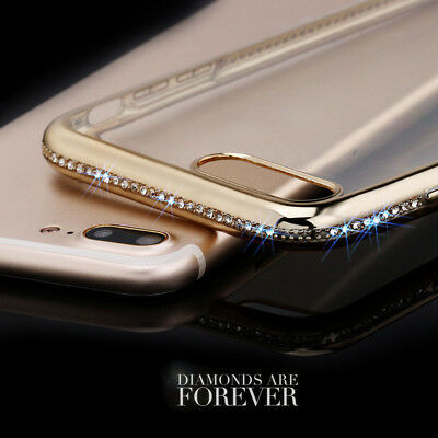 For iPhone X 8 7 6s Plus Case Shockproof Women Clear Crystal  Bling Soft Cover