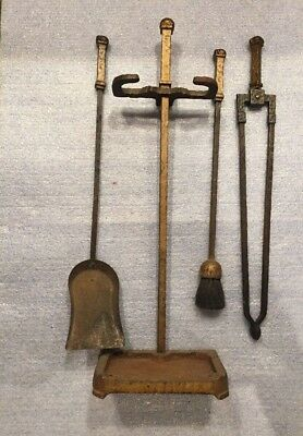 Old Vintage Antique? Cast and Forged Iron Fireplace Tools and Stand