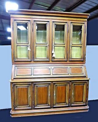 Vintage DREXEL CHINA Hutch Library Cabinet with Drop Leaf DESK