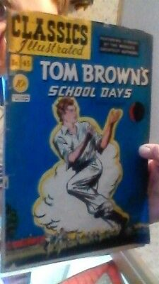 CLASSICS ILLUSTRATED #45 TOM BROWN'S SCHOOL DAYS HRN 44 Orig,GD- 1.8,B1 HUGHES