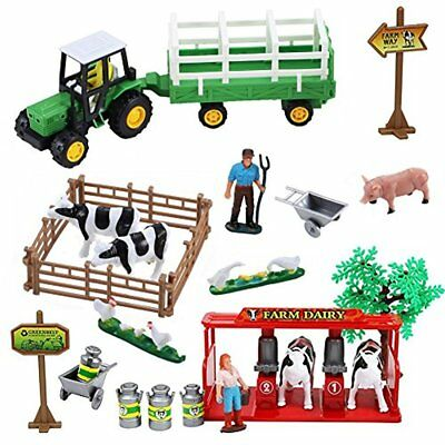Dairy Farm Play Set Tractor 23 Piece Cow Chickens Kids Toddler Gift Boy Girl