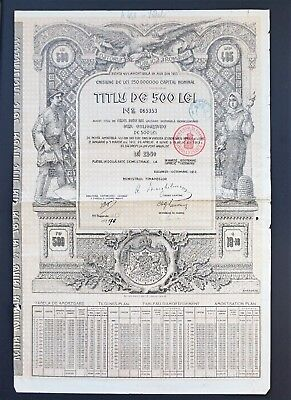 Romania - 4.5% Gold Loan 1913 - 500 Lei Bond with coupons
