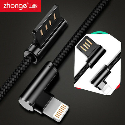 Right Angle 90 Degree USB Lightning Charging Data Sync Cable Cord for iPhone 7 8