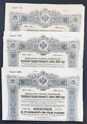 Russia - 3x Russian Imperial Government - 1906 - 5% bond for 187,50 roubles