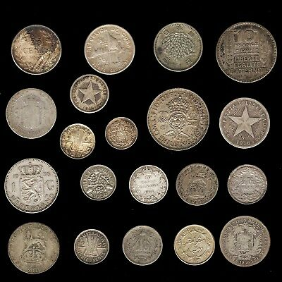 20 Silver Coin Lot - All Different Types & All At Least 50 Years Old