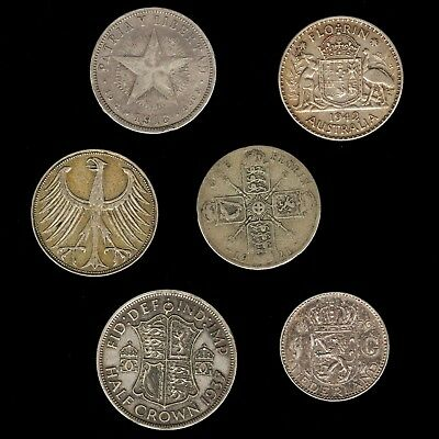 6 Different Type Silver Coin Lot -  All Over 50 Years Old