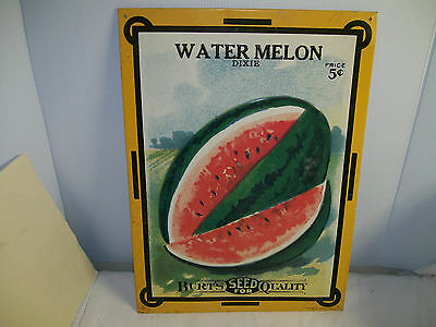Vintage Water Melon Dixie 5 Cents Bart's Seed For Quality Embossed Metal Sign
