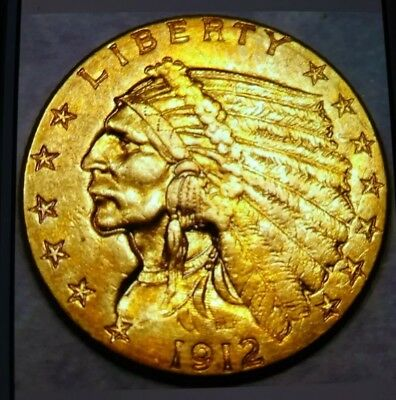 1912 Indian Head Gold Quarter Eagle $2.5 Appealing High Quality W/sharp Feathers