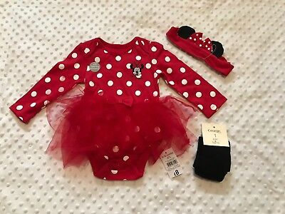 NEW Baby Girls Outfit 9-12 Month Mini Mouse Vest Tutu Top Headband Leggings Gift