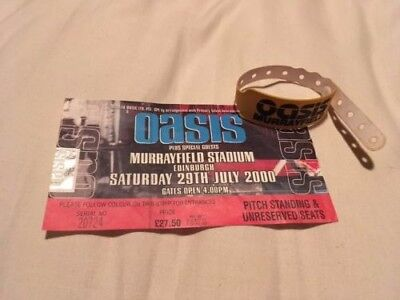 OASIS Murrayfield 29th July 2000 Ticket with Uncut Wristband Rare Promo