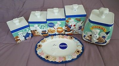The Pillsbury Doughboy Canister, Cookie Jar, Plate Collection 11 Piece Set