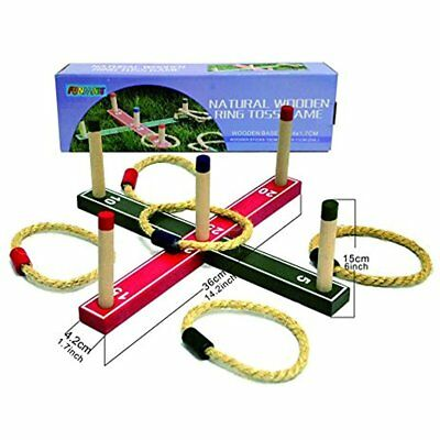 Ring Toss Set Wooden Lawn Game Outdoor Play Activity Backyard Tailgate C Ing NEW