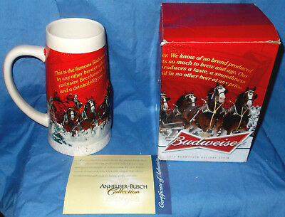 Budweiser Clydesdale's - 2013 Sights Of The Season Stein Handcrafted-Christmas