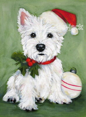 """West Highland Terrier ACEO WESTIE PRINT Painting """"Christmas Puppy"""" Dog RANDALL"""