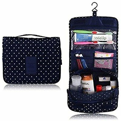 Hanging Toiletry Bag Portable Travel Carry Organizer Cosmetic Navy Circle GIFT