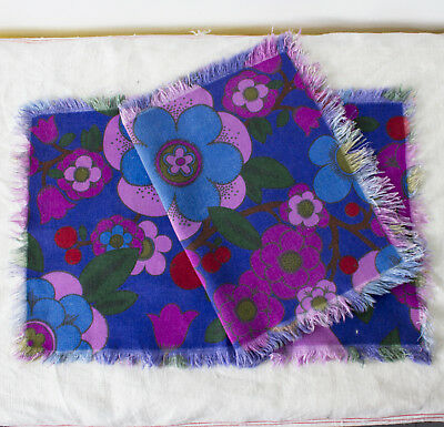 two vintage 1960s Pop Art floral print cotton fringed placemats