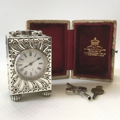 Solid Silver Antique Carriage Clock by William Comyns & Sons. 1890