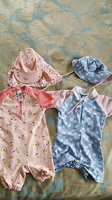 Girls Sun Safe Swim Sets x 2 with matching hats 18-24 months