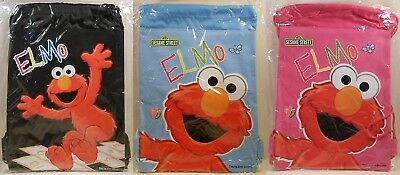 Backpack Drawstring SESAME STREET ELMO Heavy Duty Gym Book Tote Bag 3 Colors