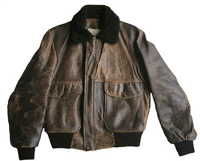 Vintage Brown Genuine Leather Bomber Jacket Size 38/ 97cm by KNIGHT TAILORS Ltd