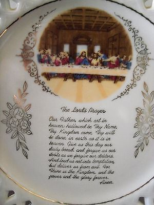 THE LORDS PRAYER Gold Trim Wall Plate
