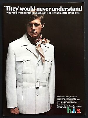1970 Vintage Ad HIS Men's Fashion They Would Never Understand Jungle Jacket